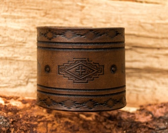 Southwest Leather Cuff, Boho Leather Cuff, Leather Bracelet, Native American Leather Cuff, Bohemian Leather Bracelet, Boho Cuff