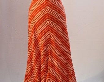 1970s Halter neck maxi dress. Red and white chevron striped made by Fiesta Girl.