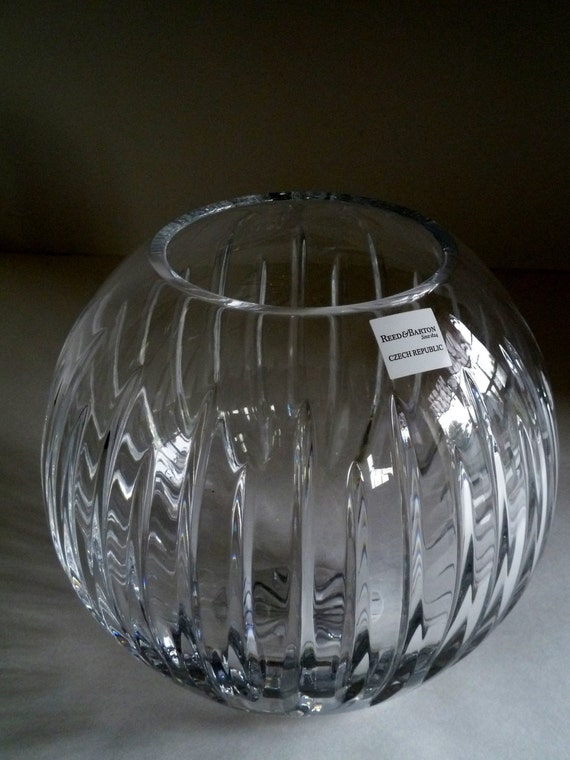 Crystal Bowl Vase/Reed and Barton lead crystal//SOHO Rose Bowl 7 inch//0 41883 00762 5//Manufacturer number 2989-0775/Gift giving condition