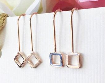 Gold  Line Earrings,Simple Bar Earrings, Dainty Bar Earrings, Bar Drop Earrings, Geometric Earrings, Tiny Gold Earrings, Minimal Earrings