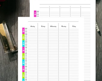 Printable | 10 AM - 8 PM | Monday - Friday | Colorful Undated Weekly Hourly Planner Tracker | Instant Download