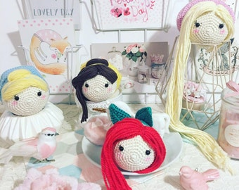 Tsum tsum Princess Rapunzel, Ariel, Belle or Cinderella disney crochet amigurumi