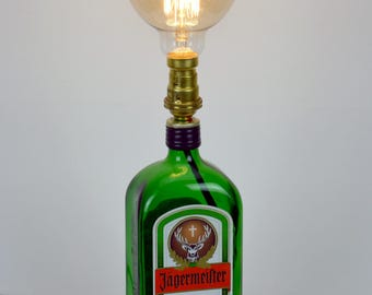 Bottle Lamp  - Upcycled - Decorative - Jagermeister Table Lamp - with Edison Globe Bulb