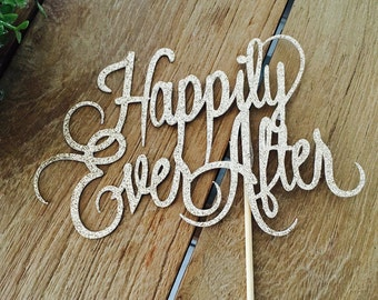 Happily Ever After Cake Topper, Engagement Party Cake Topper, We're Engaged,Bride To Be, Engagement Party Decorations.