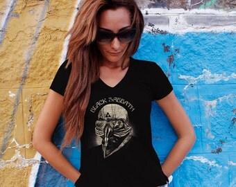 Black Sabbath Women T-shirt Black Sabbath V Neck  Tshirt Black Sabbath Women Shirt Black Sabbath Tee Rock T-shirt Model 5