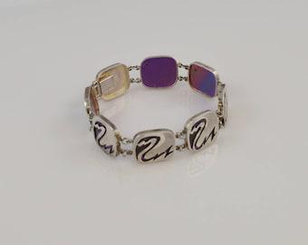 Vintage Estate Metal Marked Mid Century Modern Bracelet With Abstract Design