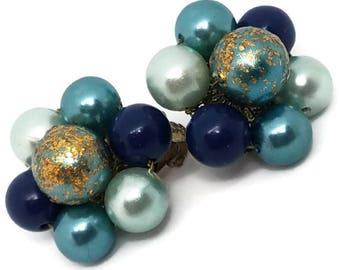 Blue Clip on Vintage Earrings Japan Cluster Blue Beads Gold 1950