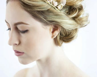 Bridal hair wreath - bridal flower crown - flower wreath - flower headband - bridal crown - pink wedding