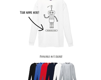 Robot shirt, robot longsleeve shirt, personalized longsleeve shirt, kids longsleeve, personalized robot, robot name shirt, toddler robot tee