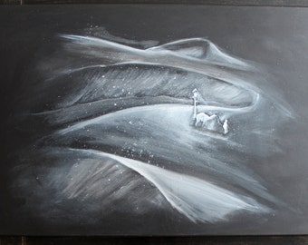Snow in the desert storm. Acrylic on canvas. Fiction. Black and white. 30 x 20 inches.
