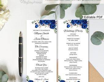 Blue Wedding Program Template Royal Ceremony Printable Floral Boho Chic