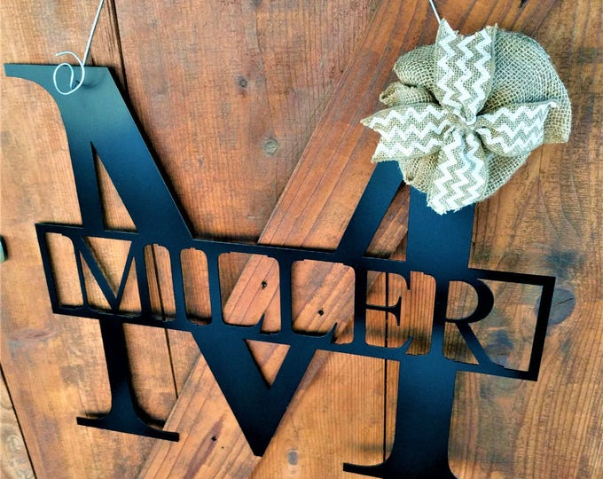 Letter Door Hanger, Letter Large Door Wreaths, Wedding Gift, Wedding Sign, Metal Signs, Wall Hanging, Large Metal Letters, Family Name Signs