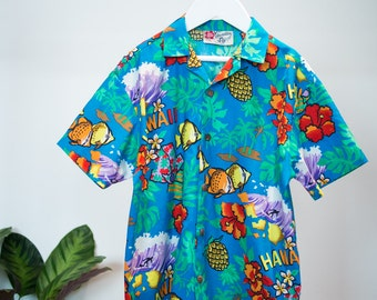 Kids Vintage 90's Hilo Hattie Tropical Hawaiian Shirt