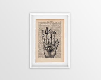 Alchemic hand printed on an old page, vintage print of alchemic hand a page from 1877, Gothic font on yellow page, anatomical print