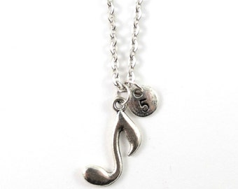 MUSIC NOTE charm necklace, silver musicians necklace, initial necklace, personalized necklace, initial jewelry, personalized jewelry, gift