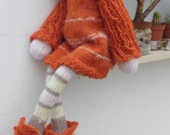 "Waldorf doll, Knitted doll Sue 14"" by Indy dolls, soft doll, handmade doll, puppen, rag doll, Steiner doll, art doll, cloth doll, gift"