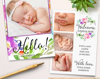Birth Announcement Template, for Photographers, 5x7 Card Template, PSD Layered File, Watercolor Flowers, Photoshop Template Instant Download