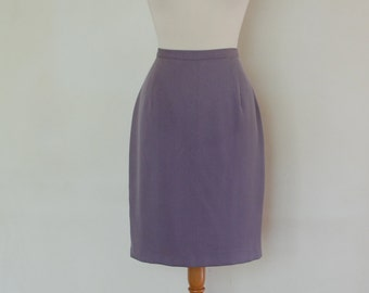 90s Elegant Straight Lilac Lavender Skirt, Below Knee Length, Fitted at the Waist from Jacques Vert Fashion Brand