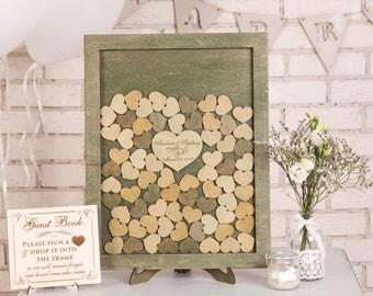 Custom Wedding Guest Book Alternative Wood Green Drop Top Box Wedding Guestbook Alternative Unique Wedding Sign Rustic Wedding guest book