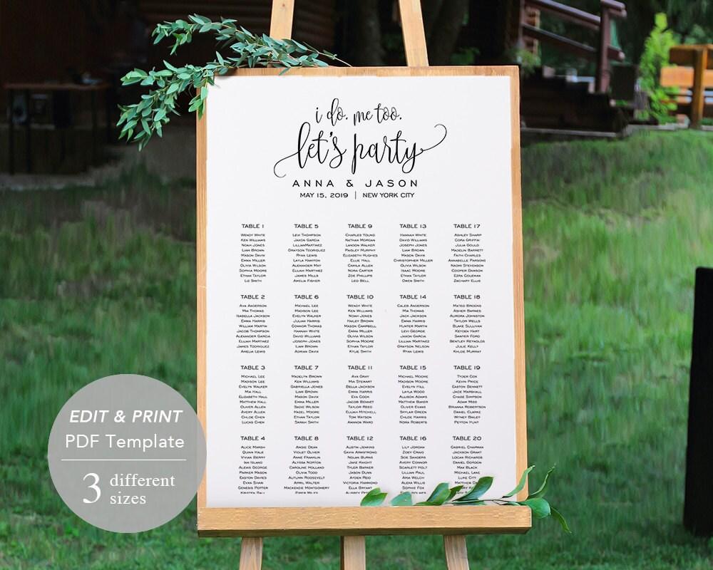 wedding seating chart template seating chart printable