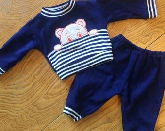 Babys vintage tracksuit. Baby Sweater & trousers. 1980s unworn new vintage. Blue white appliqué teddybear stripe. Age 6 months - 9 months