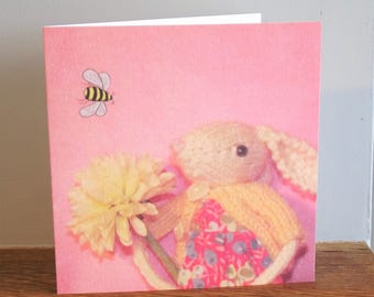 Bee Happy greeting card, fun cards, easter cards, bees, rabbit, flower