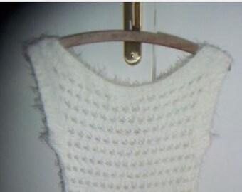 Short dress white angora T36/S