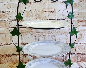 Trailing Ivy / Serveware / Wrought Iron / 3-Tier Plate Holder / Serving Stand / Buffet Rack / Afternoon Tea / Tea Party / Birthday Party