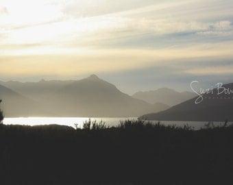 Mountain print, mountain wall art, mountain landscape, New Zealand sunset lake and mountains photograph: Sunset on Lake Te Anau