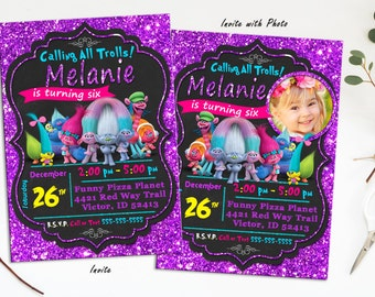 Trolls Invitation, Trolls birthday, Troll invites, trolls birthday printables, Trolls party, Trolls Printables, troll birthday invitation