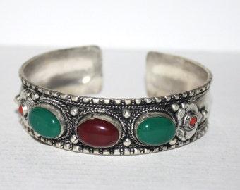 Quartz Bracelet, Boho bracelet, Silver Bracelet, Tribal Bracelet, Gypsy bracelet, Navajo Bracelet, Tibetan bracelet, Nepal bracelet BTBB141