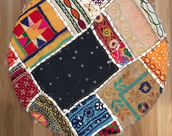 Vintage Patchwork Moroccan Poof Ottoman