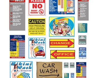 1:25 car wash poster signs