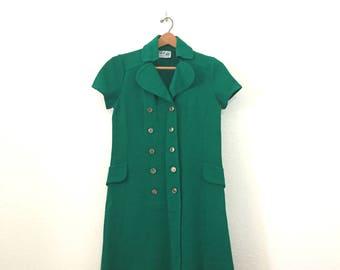 Forest Green Wool Mod Mini Dress