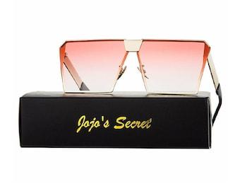 Oversize glasses - square glasses - fashion sunglasses - metal frame flat top sunglasses - shades.