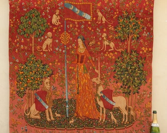 Medieval French Beautiful Lady with Unicorn Tapestry (550)