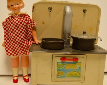 Vintage tin metal toy Kitchen Stove Set 1940's, all original