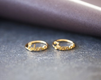 Custom name ring, personalized name ring, Stackable name ring - Custom Stacking ring - Gold Name Ring - Silver Name Ring