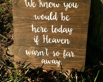 We know you would be here today if Heaven wasn't so far away, Wedding memorial sign, in memory of sign, rustic wood sign, remembrance sign