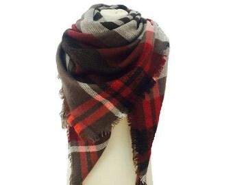 Plaid Blanket Scarf, Winter Scarf, Plaid Scarf, Chunky Scarf, Scarves, Wool Scarf, Gift For Her, Winter Accessory,Womens Scarf, Tartan Scarf
