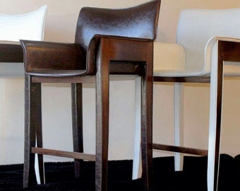 Leather and Mahogany Bar Stool - Italian chair - GELINA : distressed leather bar stools - islam-shia.org