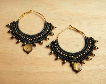 Tribal earrings, tribal hoops, macrame earrings, big earrings, black and gold, gold hoop earrings, earrings, boho hoops, boho, makrame,