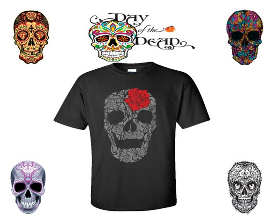 rose skull wred rose sugar skull roses shirts skull shirt sugar skull day of the dead calavera t shirt t shirt party tees