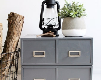 CARD CATALOG CABINET - Blue