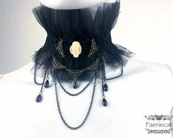 Choker chains cat skull tulle black
