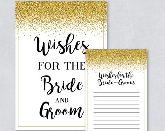 Wishes for the bride and groom / Wedding cards / Gold Glitter Confetti / Gold Confetti / Gold sparkle / DIY Printable / INSTANT DOWNLOAD