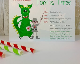 Pack of 16 Knight & Dragon Personalised Party Invites or Thank You Cards