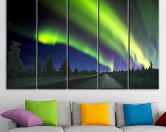 Northern Lights, Northern Lights art, beautiful sky, The glow of the sky, Green sky glow, southern lights, northern lights gift