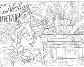 Color Me Kansas City Coloring Book Page Download JC Nichols Fountain Country Club Plaza