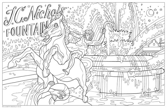Items Similar To Color Me Kansas City Coloring Book Page Download JC Nichols Fountain Country Club Plaza On Etsy